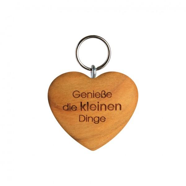 """Schlüsselanhänger: Herz flach """"Genieße die kleinen Dinge"""""""