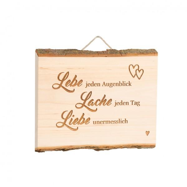 """Spruchschild Tafel: """"lebe, lache, liebe"""""""