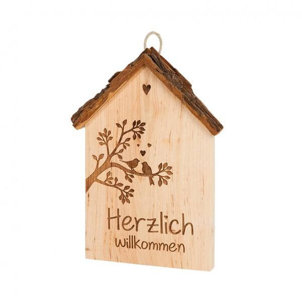 """Spruchschild Rindenhaus: """"Herzlich Willkommen"""""""