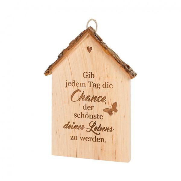 """Spruchschild Rindenhaus: """"Gib jedem Tag die…"""""""